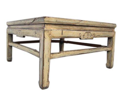 Blanc 1860 table basse classique en bois massif de l'orme Chine Pékin