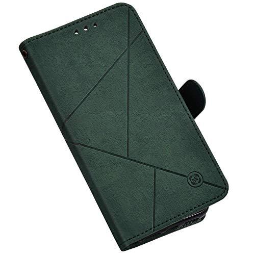 Hülle Kompatibel mit Huawei P20 Lite Ledertasche Brieftasche Handyhülle,QPOLLY Geometrisch Muster PU Leder Handy Tasche Kartenfächer Schutzhülle Wallet Tasche Flip Case für Huawei P20 Lite,Grün
