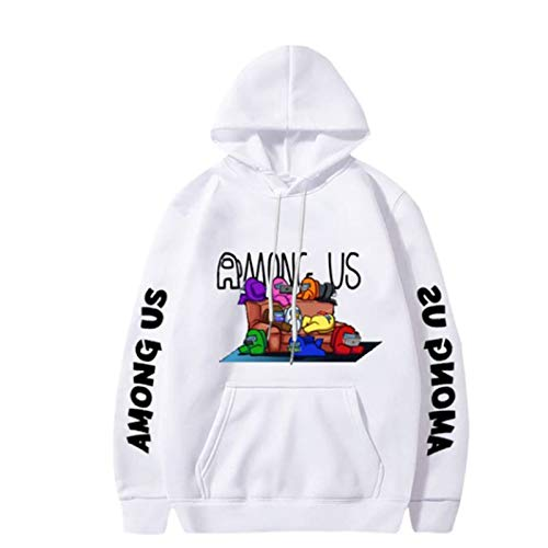 AUXSOUL Among Us Hoodies 3D Print Pullover Hooded Sweatshirts Casual Cool Women Long Sleeve Hoodie(m White)