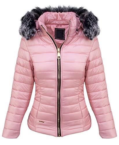 Designer Damen Stepp Jacke Winter Jacke Gesteppt Parka Mantel Kapuze Kunstfellkragen Warm Kurzjacke Kurzmantel D-409 Pink S