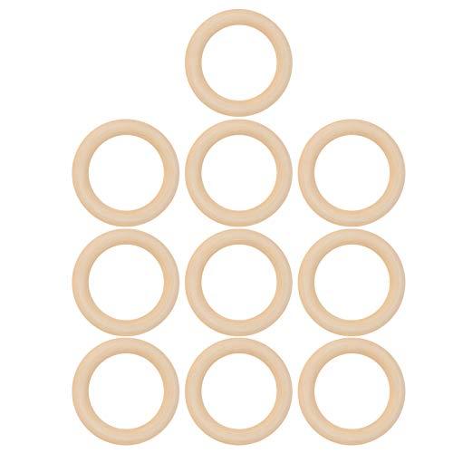 10 piezas de anillos de madera, círculos de madera sin terminar lisos naturales de 65 mm para DIY anillo de dentición de bebé conectores colgantes artesanales fabricación de joyas(65mm)