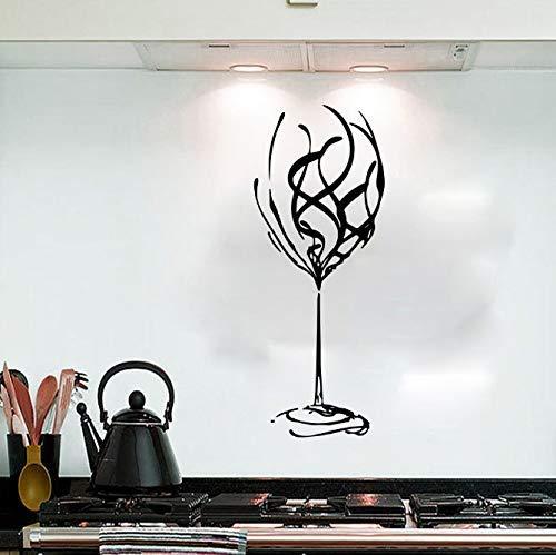 Grote wijnglas wervel muursticker keuken bar pub enorme wijnschaal dames muursticker restaurant vinyl Home decor kunst muurschildering 56Cmhighx22Cmwide