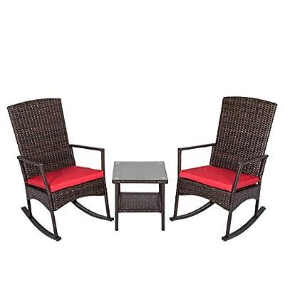 Peach Tree 3 Piece Wicker Rocking Chair Set Patio Bistro Set Conversation Furniture