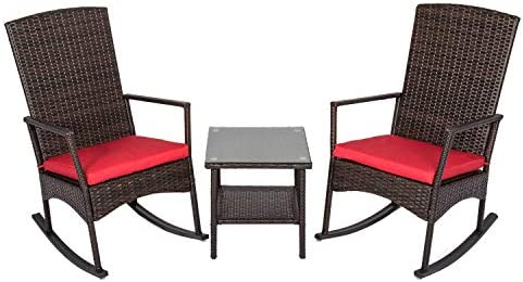 Best Peach Tree 3 Piece Wicker Rocking Chair Set Patio Bistro Set Conversation Furniture