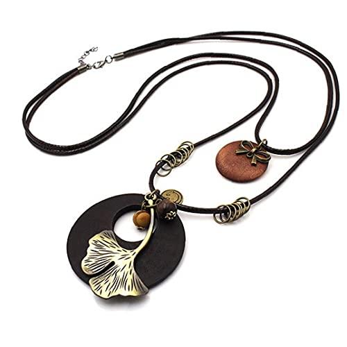 Froiny Collar Largo Vintage Joyería Hecha a Mano Que Lleva Cuerda Múltiples Capas Aleación Cuero Planta Planta del Encanto Colgante Colgante Collar