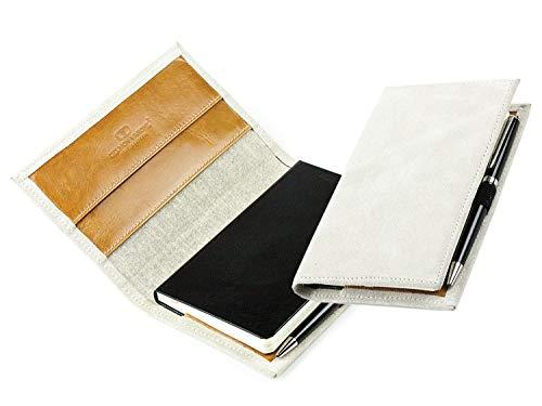 DELMON VARONE - Personalisierbares Taschen Notizbuch Etui DIN A6 Premium Nubuk Velours Leder beige/braun, Blanko Buch unliniert im Hardcover Ledereinband mit Stiftschlaufe, Einschubfächer & Merkband