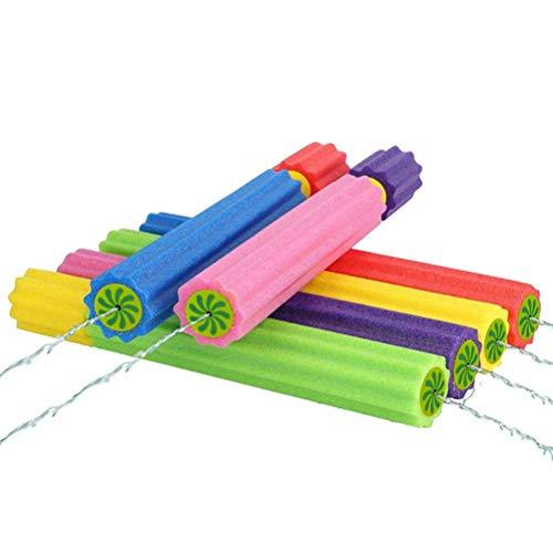 TiKiNi Pistola de agua de juguete, 6 unidades Water Blaster Soaker para niños pasta de espuma forma bombeo acción exterior juguete de agua para piscina playa yard fiesta juegos color aleatorio 35x5cm