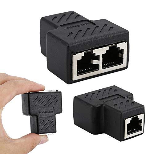 2 piezas RJ45 Lan cable interruptor divisor adaptador para extensión, enchufe distribuidor de red en Y conector Ethernet 1 a 2 puerto hembra dual en T acoplador de red de acoplamiento modular blindado