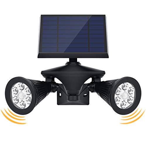 OUSFOT 改良版 ソーラーライト 2灯式 センサーライト 二つ人感センサー搭載 ガーデンライト スポットライト 12LED 屋外 防犯ライト 壁地両用 360度角度調整 300LM 埋め込み 高輝度 防水タイプ 屋外適用 長時間点灯可 光センサー搭載