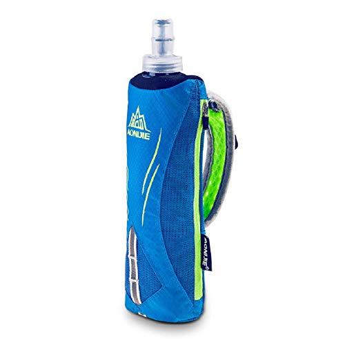 TRIWONDER Handheld Water Bottle for Running, Quick Grip Chill 17 oz Handheld Soft Water Bottle with Hand Strap Hydration Pack, BPA Sport Soft Flask (Blue)