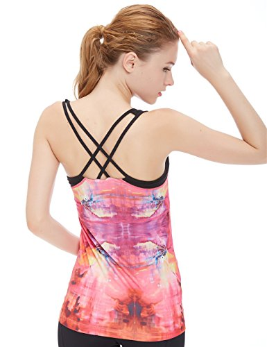 icyzone Damen 2 in 1 Sport Yoga Tops mit BH - Gym Shirts Fitness Trainings Tank Top (M, Impression)