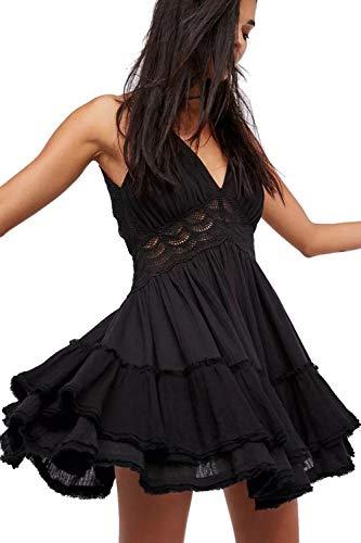 Mujer Vestido Bohemio Corto Sin Espalda Verano Vestido Sexy Cuello en V Noche Vestidos de Playa Negro L