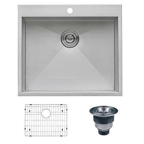 Ruvati RVH8010 Overmount 16 Gauge 25' Kitchen Sink Single Bowl, Stainless Steel