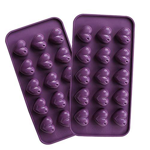 Webake Schokoladenform Silikonform Herz Pralinen Silikon Schokolade Selbst Machen Silikonbackform Eiswürfel Schokolade Form Süßigkeiten Dekoration Förmchen 2 Stück