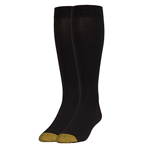 Gold Toe Men's Mild Compression Rib Over-The-Calf, 1 Pair, Black, Shoe Size: 6-12