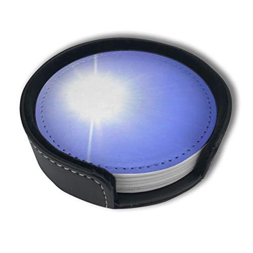 Bright Sun Light Premium PU Leder Untersetzer Getränke-Runde Untersetzer mit Halter-Sets, geeignet für Zuhause und Küche, 6 Stück