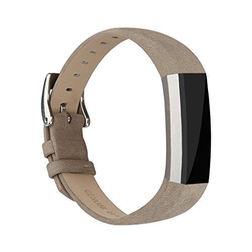 Tobfit für Fitbit Alta HR Armband Alta Leder Armband, Einstellbare Ersatzarmbänder für Fitbit Alta und Fitbit Alta HR (Grau)