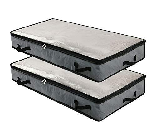 2 bolsas de almacenamiento plegables debajo de la cama con ventana transparente, asas, cremallera, mantas para ropa, organizador de edredones para dormitorio y armario, 100 x 50 x 15 cm, color gris