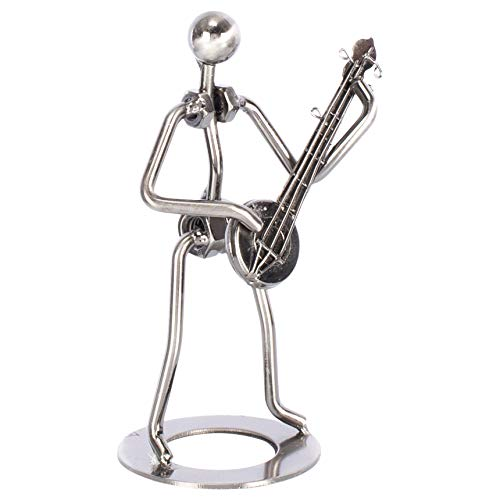 Broadway Gift Banjo Player Silver Tone 7 inch Table Metal Decorative Musician Tabletop Figurine