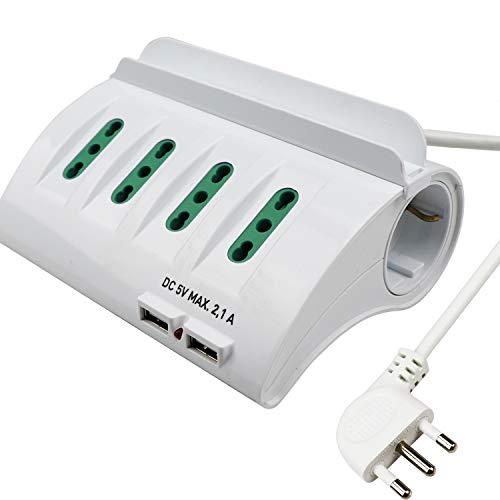 Extrastar Multipresa da Scrivania/Tavolo con 2 Presa USB,Presa con interruttore automatico di protezione 16A,Bianco,3500W,6 Prese (4 ITA/Schuko),2M