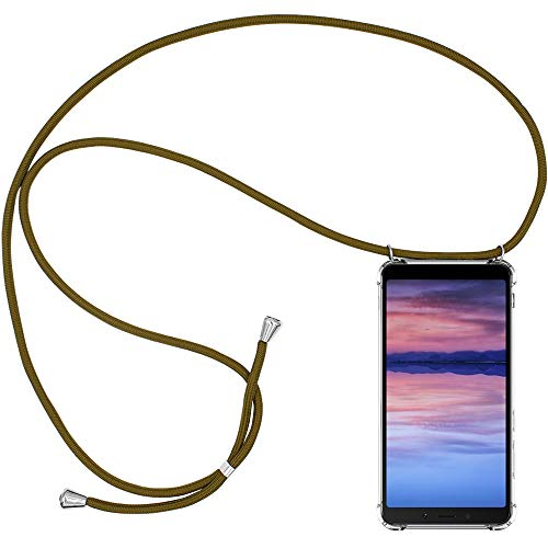 Verde Blanco Negro CLM-Tech Carcasa con Cuerda para Colgar Compatible con Xiaomi Mi A2 Lite//Redmi 6 Pro Funda Silicona Transparente con Cordon para Llevar en el Cuello