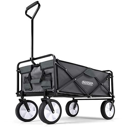 Deuba Chariot de Jardin Pliable 4 Roues 70 kg Chariot de Transport à Main Gris Chariot de Plage charrette remorque