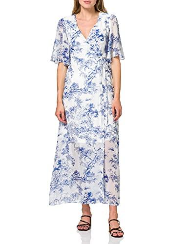 Amazon-merk - TRUTH & FABLE Maxi Chiffon A-lijn jurk voor dames, veelkleurig (tijgerprint), 10, label:S