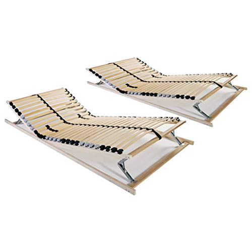 vidaXL 2X Somieres de Cama con 28 Láminas 7 Zonas Bases de Catre Muebles Laminados Apoyo Ajustables Listones Fácil Montaje Colchones 80x200cm