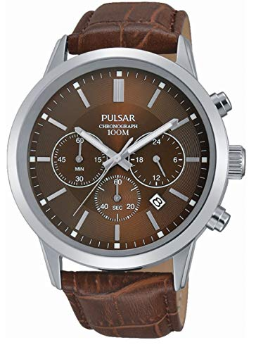 Pulsar Reloj cronógrafo de cuarzo para hombre con correa de cuero marrón PT3739X1