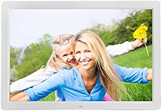 JIANGNIAU Frame 17 inch HD 1080P LED Display Multi-Media Digital Photo Frame with Holder & Music & Movie Player, Support USB/SD/MS/MMC Card Input(Black) (Color : White)