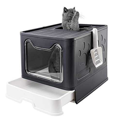 Bolux Foldable Cat Litter Box with Lid, Extra Large Litter Box with Cat Litter Scoop, Drawer Type...