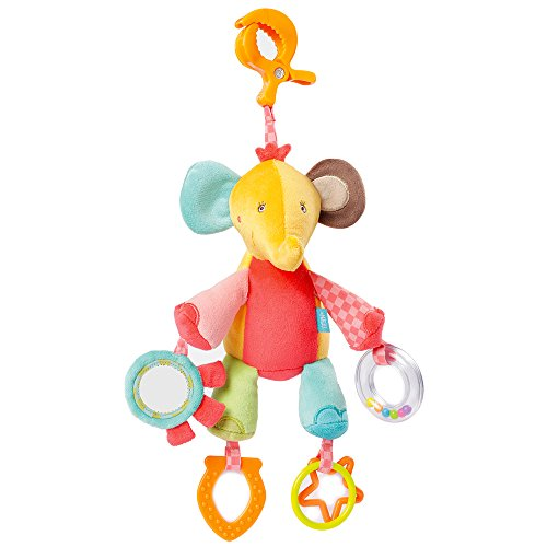 Babysun Safari Doudou d'Activités Eléphant avec Pince Clip