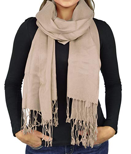 Women Scarves Faux Pashmina Silk Shawl Wrap Head Cover Lightweight - Tan