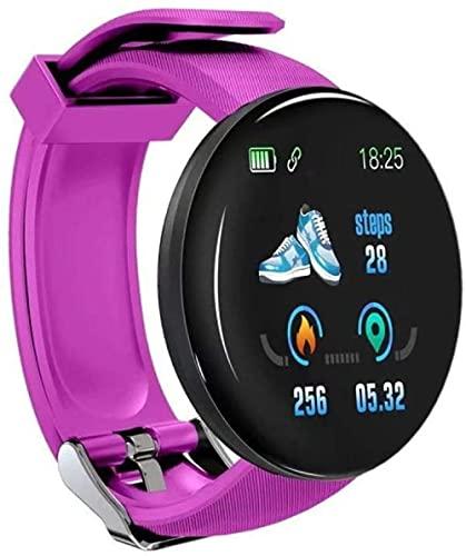 reloj inteligente los relojes para hombre relojes automáticos Mujeres ronda Bluetooth inteligente reloj impermeable Sport Tracker reloj Android Ios-púrpura