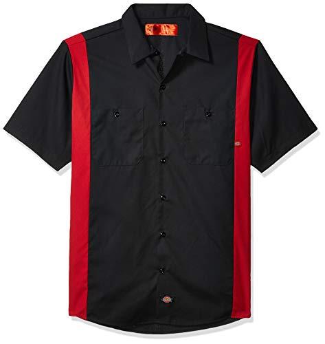 Dickies Occupational Workwear Ls524bker Polyester/Coton pour homme à manches courtes industriel Bloc de couleur Chemise, Noir/English Rouge, XXL Tall,