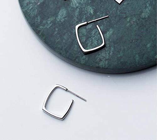 TYERY Pendientes de Plata S925, Pendientes Geométricos de Gancho de Oreja Cortos Cuadrados Huecos Simples de Estilo Japonés Femeninoplata, Plata 925