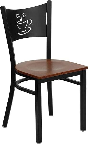 Flash Furniture 4 Pk HERCULES Series Black Coffee Back Metal Restaurant Chair Cherry Wood Seat