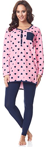 Be Mammy Damen Langarm Pyjama mit Stillfunktion BE20-178, Rosa-Herzen-Marine, S(Rosa-Herzen-Marine, S)