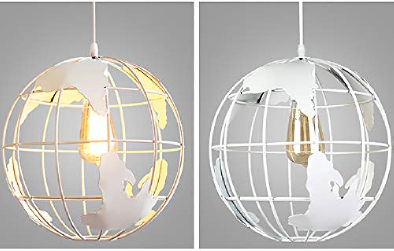 ZKKAW Kreative Kronleuchter, Amerika Style Fashion Globe Kronleuchter Beleuchtung für Wohnzimmer Esszimmer Schlafzimmer Modern Minimalist Iron Bar Restaurant,Weiß30cm