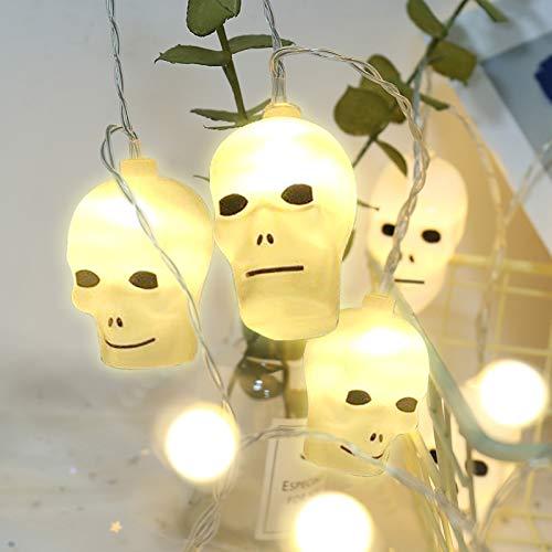 Hanxin LED-Lichterkette, elektrisch, mit 16 LEDs, 2,8 m, Thanksgiving, Dekoration, Weihnachtsdeko beleuchtet (Totenkopf)