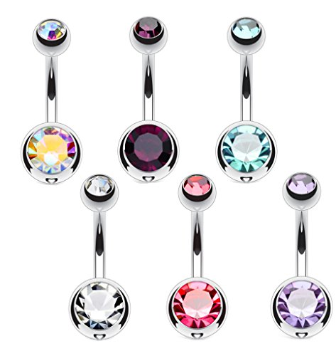6 pcs Ombligo piercings con doble cristal 1,6 x 10 mm bolas de 5 y 8 mm
