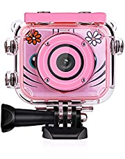 Honorall Kids Digital Video Camera Action Sports Camera 1080P 12MP Waterproof 30M Built-in Lithium Battery Christmas Gift New Year Present for Children Boys Girls