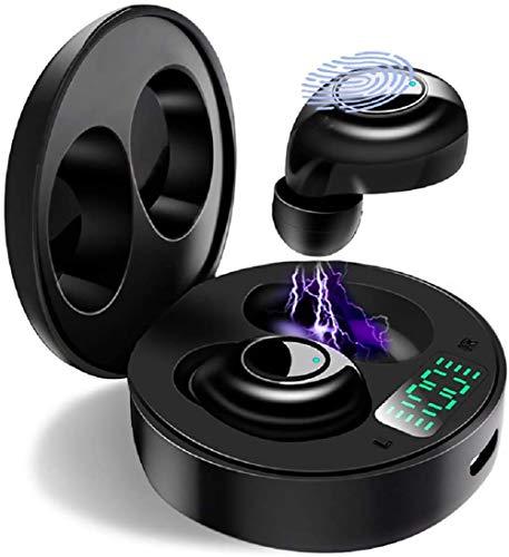 Bluetooth Kopfhörer, Kabellose Kopfhörer mit Premium Klangprofil mit intensivem Bass, Bequemer Halt, Bluetooth 5.0 Headset Noise Cancelling Earbuds, Deep Bass, LED-Anzeige, Touch Control (Schwarz)