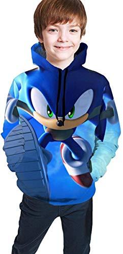 ANTOUZHE Kapuzenpullover Jungen Mädchen Kids/Youth Hoodie So-NIC The Hedgehog 3D Print Unisex Pullover Hooded Sweatshirts for Boys/Girls/Teen