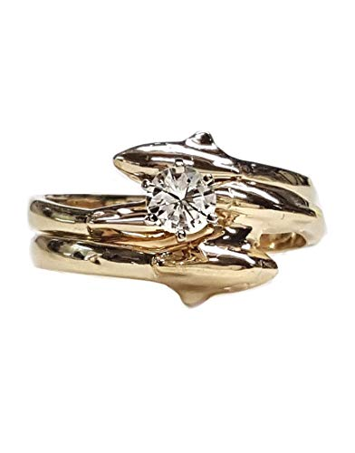 Dolphin Wedding Set with 1/4ct Center Diamond in 14kt Gold. Single Dolphin Bands (0.25 Ct Center)