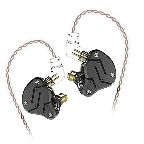 KZ ZSN Auriculares de Diadema híbridos 1DD 1BA Yinyoo con Armadura equilibrada + Auriculares dinámicos con Cable de 2 Pines(Negro no mic)