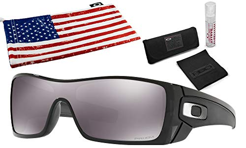 Oakley Batwolf Sunglasses (Black Ink Frame, Prizm Black Lens) with Lens Cleaning Kit and Country Flag Microbag
