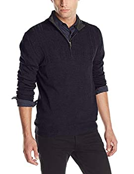 Haggar Men s Solid Stitched-Yoke Quarter-Zip Sweater Navy X-Large
