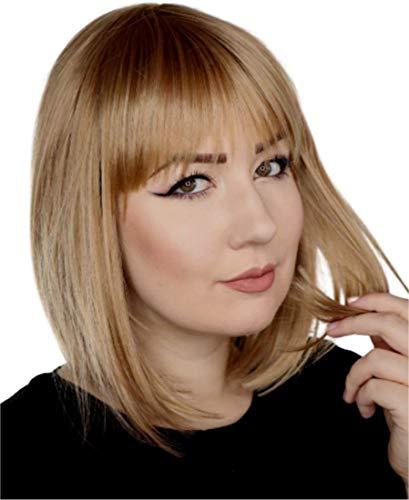Prettyland Damen Blond Bob-Perücke Mittellange Kurz-haar Natürlich Matte Glatte Statikfreie Perücke Wig C559
