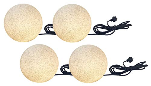 Trango 4er Pack IP65 Granit-Optik Gartenkugel TG200G/4 Kugelleuchte 20cm Durchmesser inkl. 5m IP44 Zuleitungskabel & E27-Fassung Außenleuchte Leuchtkugel Gartenleuchte